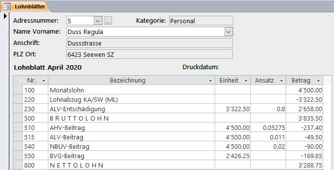 Screenshot Infocom Business Software Kurzarbeit Corona Monatslohn