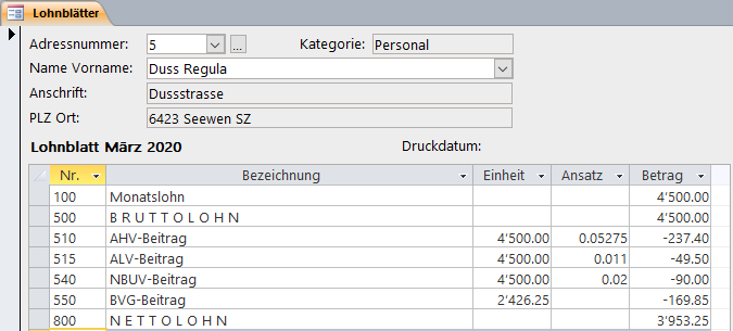 Screenshot Infocom Business Software Kurzarbeit Corona Monatslohn