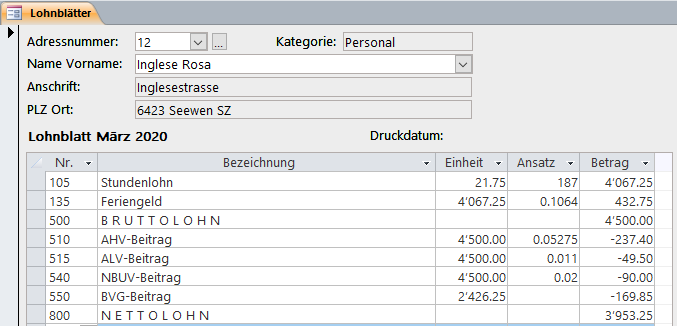 Screenshot Infocom Business Software Kurzarbeit Corona Stundenlohn